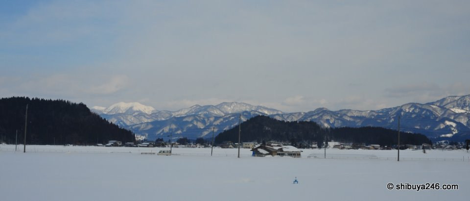 Just a few houses spread out in this area of Akita-ken. A little bit of snow on the roofs but this year has not been that cold a winter.