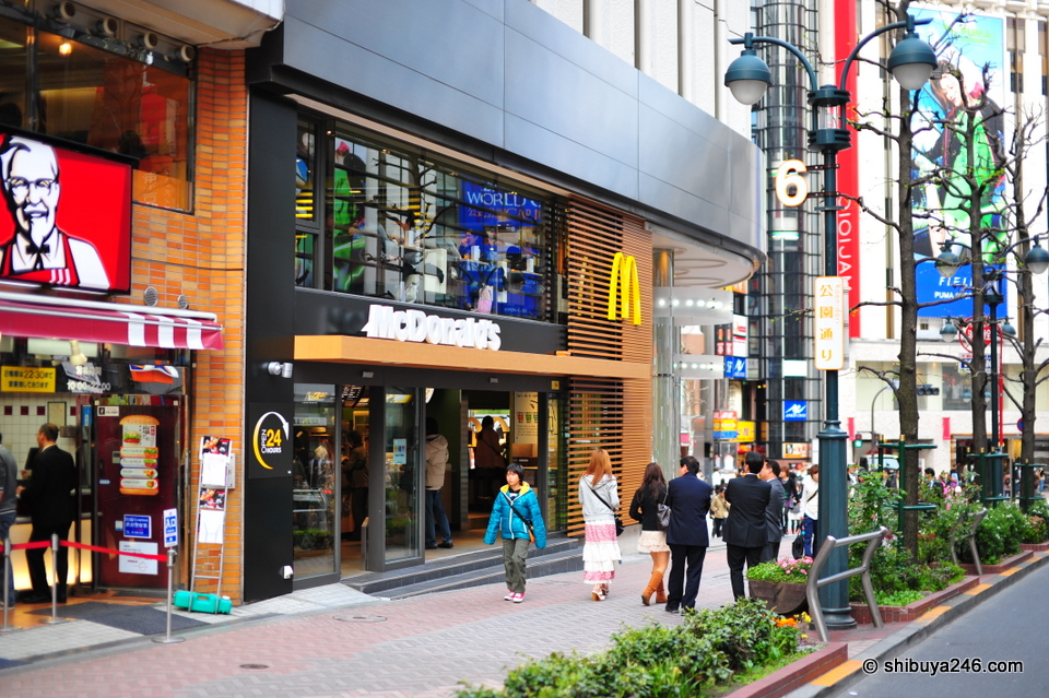 The new look McDonalds store on Koen dori, Shibuya.