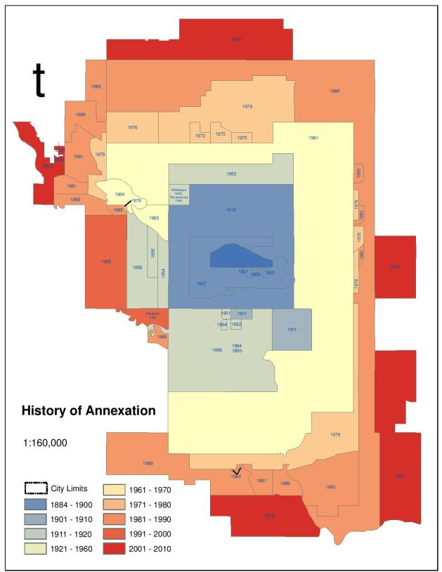 A map of a land annexations in Calgary over the years,.