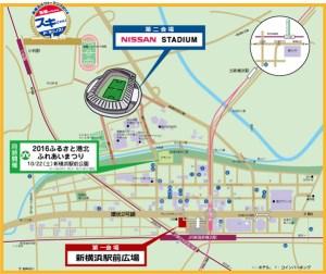 会場は駅前と日産スタジアムの2カ所ですが、22日(土)は途中の野球場で「ふるさと港北ふれあいまつり」も予定されています