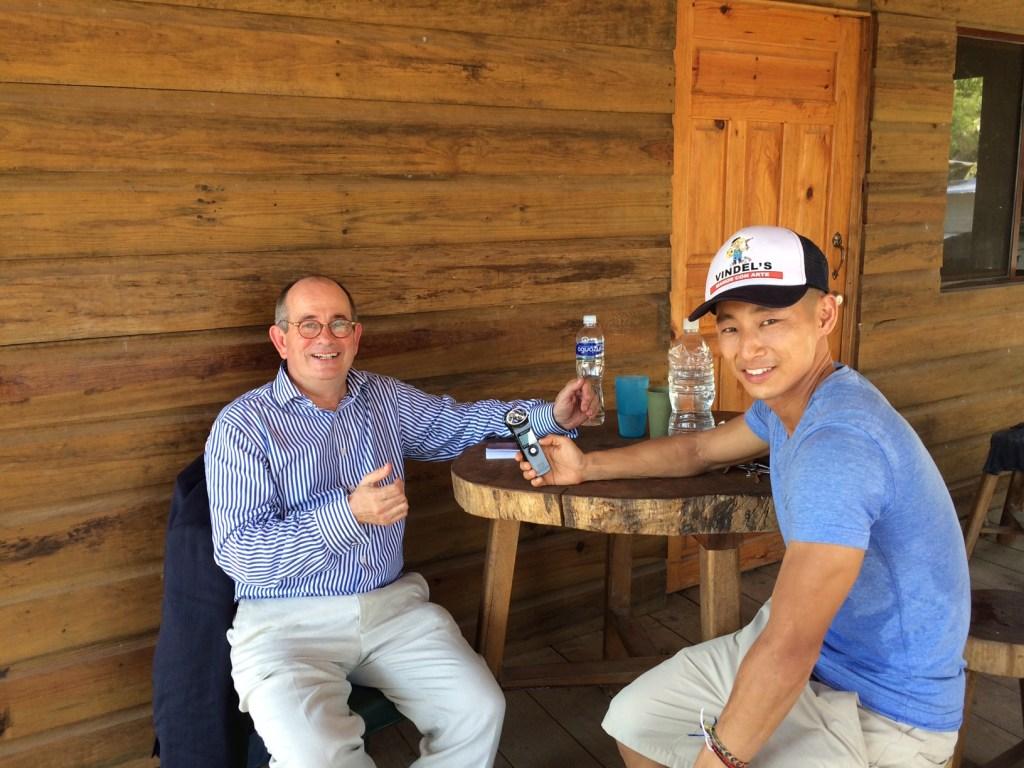 Shin Fujiyama and James Tooley at tree house