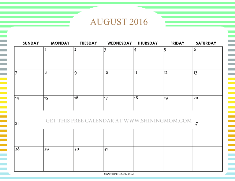 Pretty Printable Calendars for August 2016