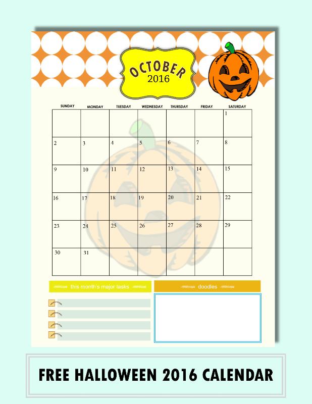 Free Printable October 2016 Calendars: Halloween Themed Designs