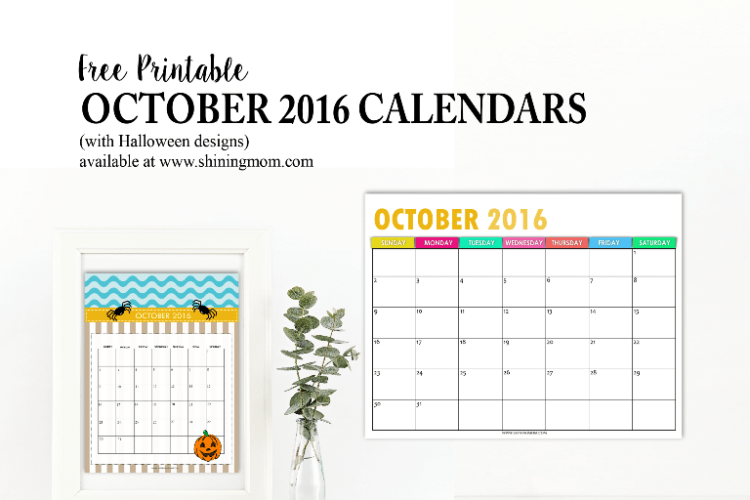 Free Calendars for October 2016 {Halloween Designs!}