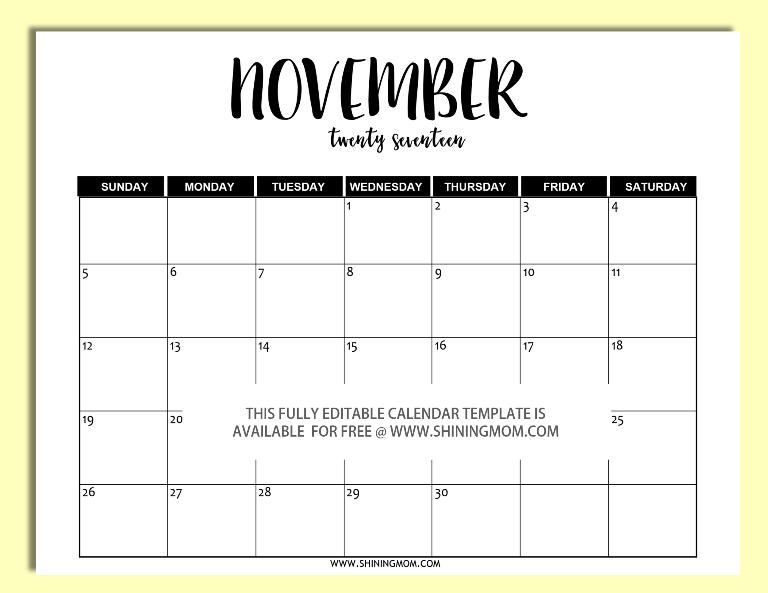 Free Printable: Fully Editable 2017 Calendar Templates in Word Format