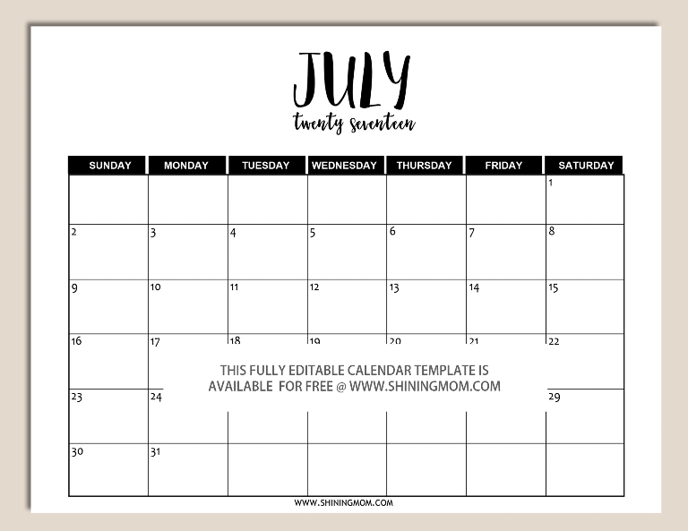 Free Printable Fully Editable  Calendar Templates In