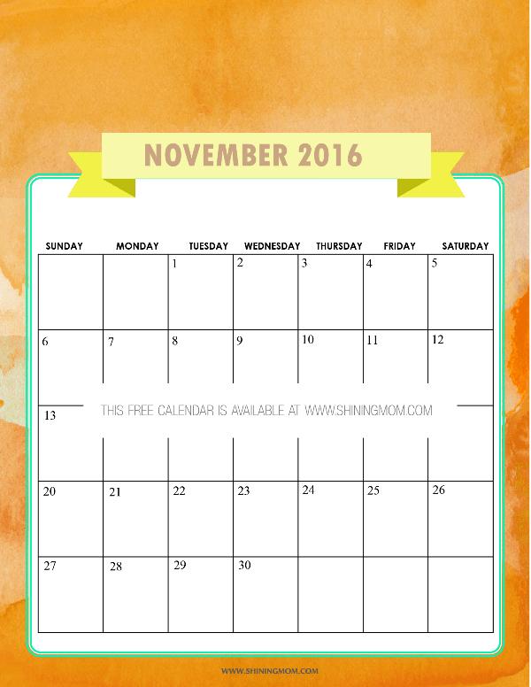 Free Printable November 2016 Calendar: Elegant and Feminine