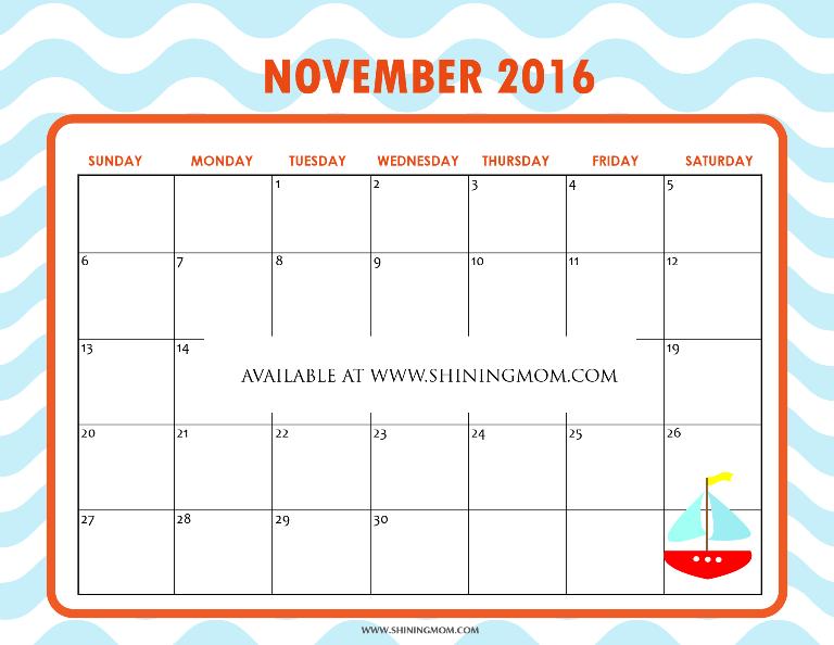 Free November 2016 Calendar: Pretty and Cute