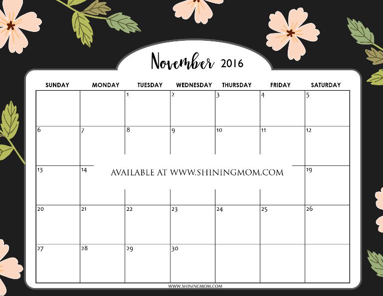 Blank Calendar November 2016 : Free printable calendar for november