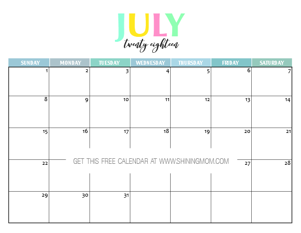 blank calendar july 2018 - Geocvc.co