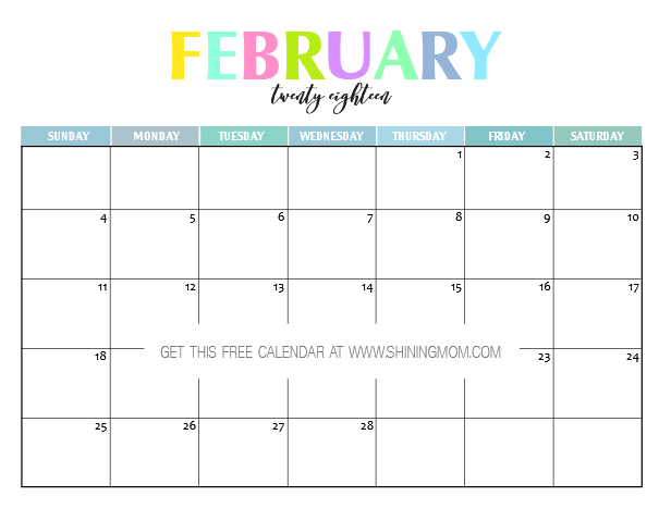 Free Printable 2018 Calendar: Pretty and Colorful!