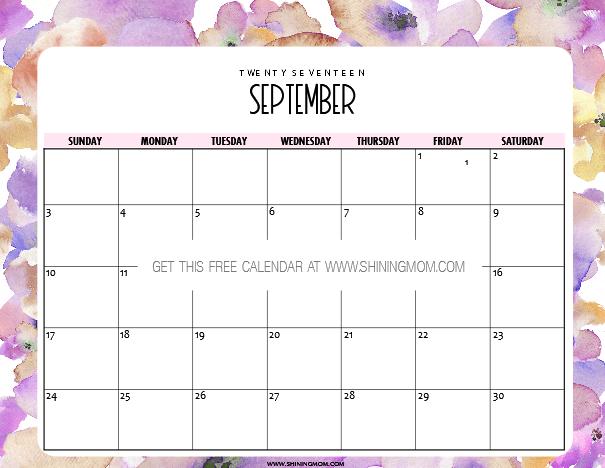 September Calendar 2017 Printable Free – Free Calendar Printable