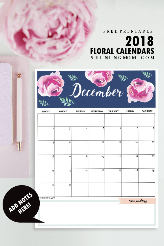 Calendar 2018 Printable: 12 Free Monthly Designs to Love!