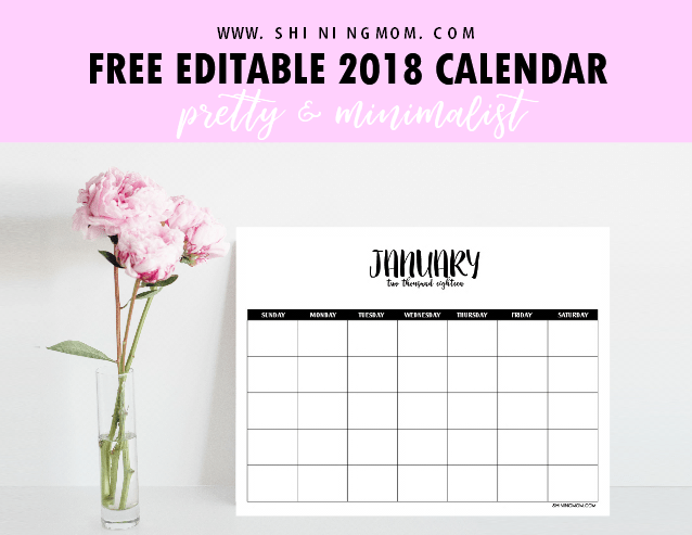 FREE Fully Editable 2018 Calendar Template in Word!