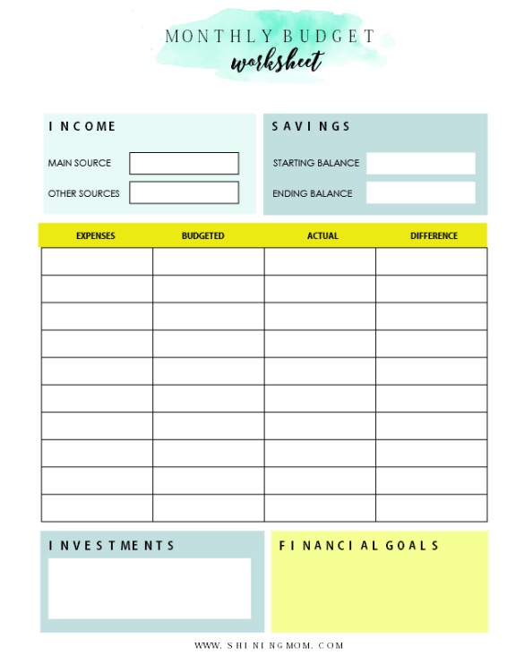 Monthly budget worksheets free printable