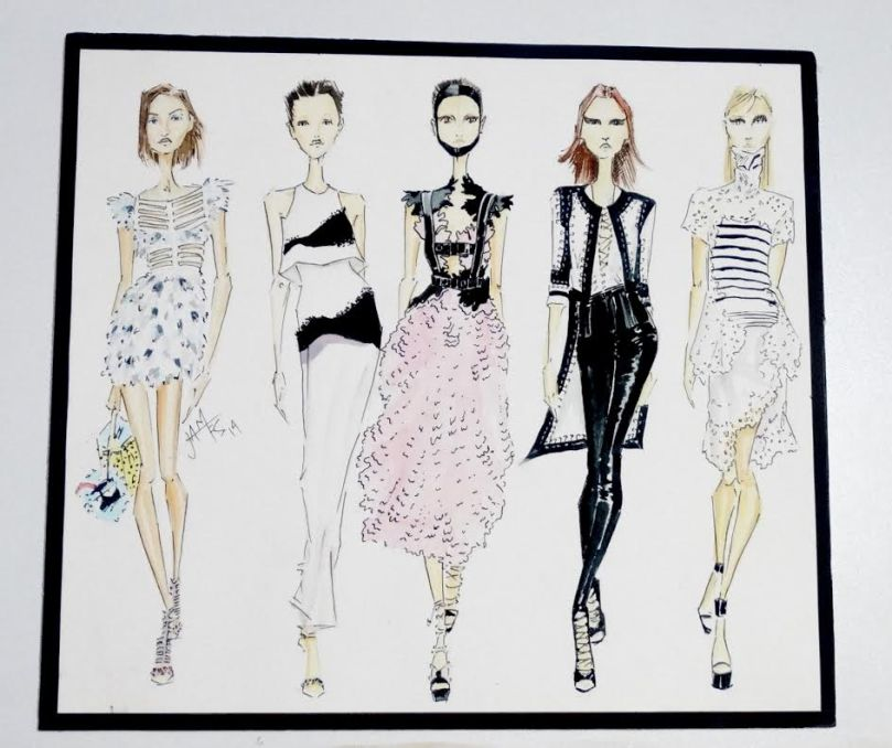 Recent UTT Fashion Design graduate, Sheneice James captures some popular catwalk looks from last season. Sketches from Fendi,  Giambattista, McQueen, Givenchy and Sacai