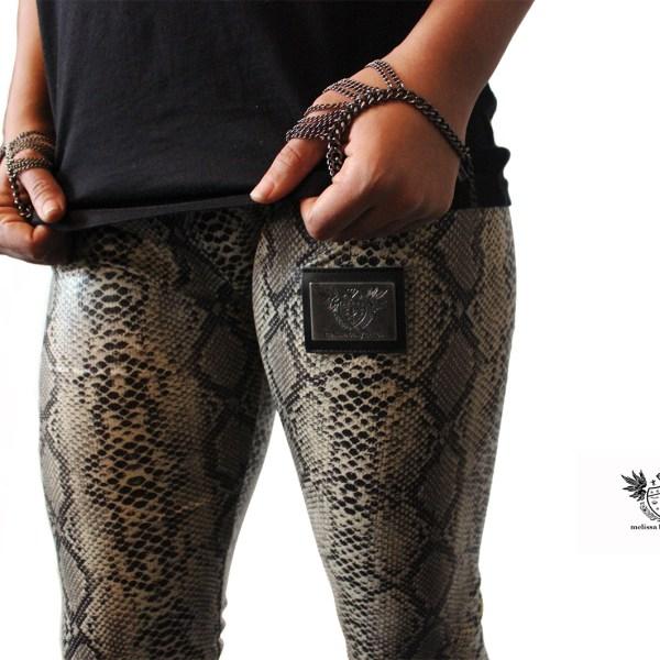 Snake Print PVC Leggings close 1