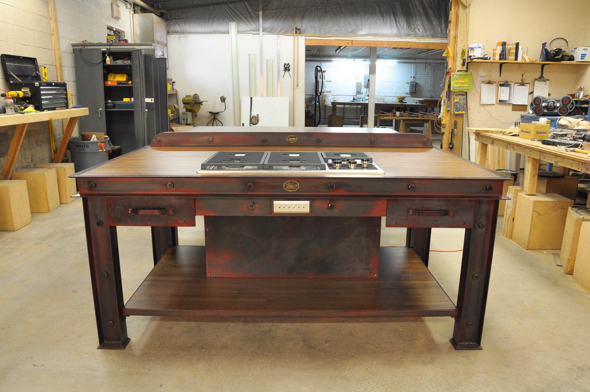 vintage industrial kitchen island 3 industrial kitchen table Wilbur Firehouse Island 1 Wilbur Firehouse Island 2