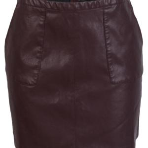 new-look-brown-leather -skirt