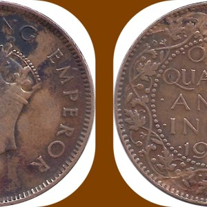 1939 1/4 One Quarter Anna George VI King Emperor Bombay Mint - Best Buy