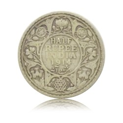 1914 1/2 Half Rupee Silver Coin King George V Bombay Mint Rare Coin - Best Buy