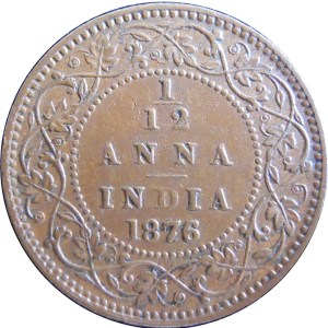 1876 1/12 One Twelve Anna British India Queen Victoria Calcutta Mint - Best Buy - RARE