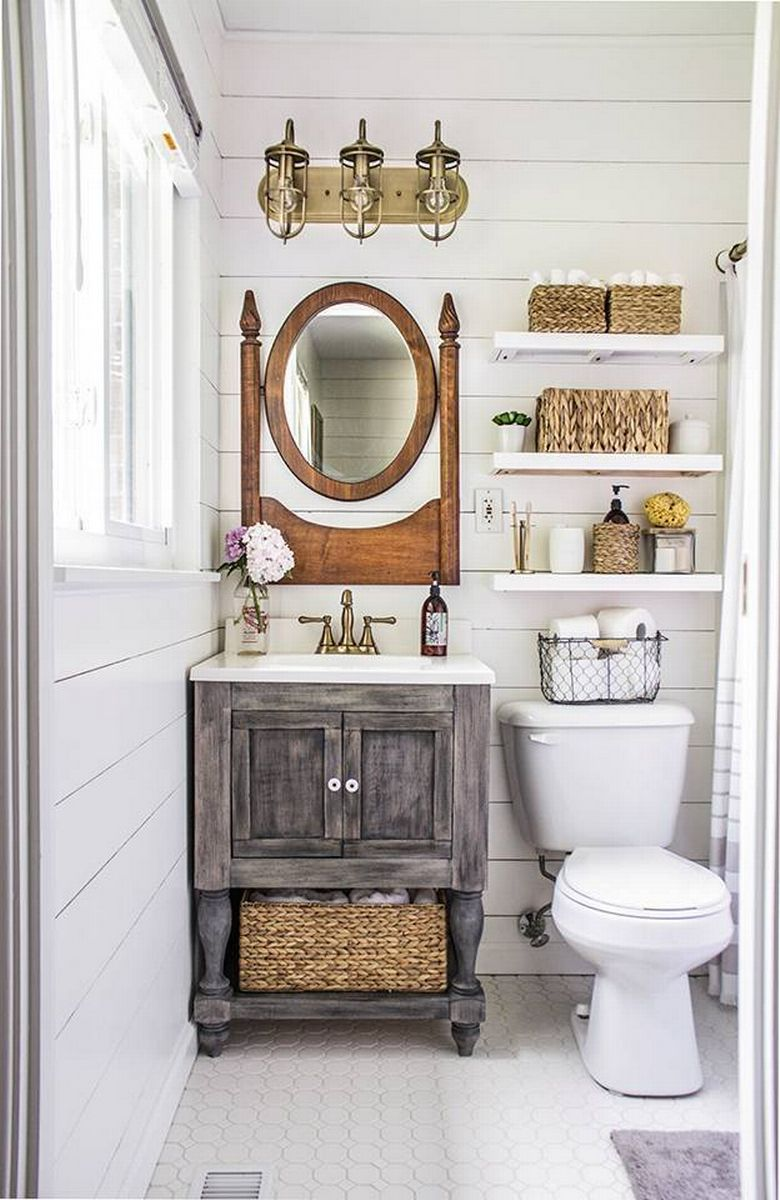 Excellent How To Renovate Decorate Small Bathroom Powder Room Ideas Farmouse Farmbarn Ideas Wood Vanity Shevling Blowing Small Bathroom Makeovers After Photos houzz 01 Small Bathroom Makeovers