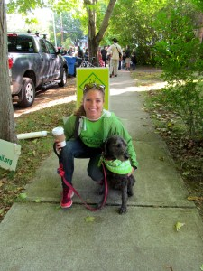 Chelsea Anderson and Bella at her first parade, celebrating Guilford's Centennial (2014).