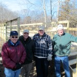 Part of the great volunteer team building the boardwalk in Hammonasset. l.to r. Ted Raff, John Paulson, Dave Kelley, and Trailmeister Perry Rianhard. Not pictured but just as valuable, George Haines, Ken Punzelt, Yasu Ueda, David Dwyer, and Jack Wood.