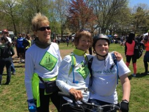 SGT's Pam Bisbee-Simonds, Carol Grave and Carol's grandson Denali celebrate completing the Rock to Rock ride.
