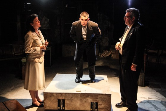 (left to right) Molly Fisher, Rudy Galvan and Stephen Walker in Mary-Arrchie Theatre Co.'s production of HELLISH HALF-LIGHT: Shorter Plays of Samuel Beckett directed by Jennifer Markowitz.  Photo by Emily Schwartz.