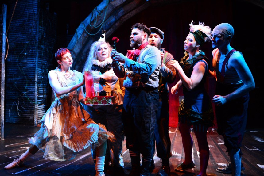 (left to right) Molly Plunk, Pam Chermansky, Anthony Courser, Jay Torrence, Leah Urzendowski and Ryan Walters in The Ruffians'2014-15 production of BURNING BLUEBEARD by Jay Torrence, directed by Halena Kays.  Photo by Evan Hanover.