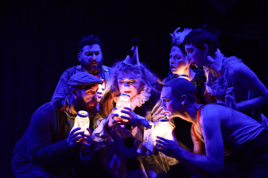 (left to right) Jay Torrence, Anthony Courser, Pam Chermansky, Ryan Walters, Leah Urzendowski and Molly Plunk in The Ruffians' 2014-15 production of BURNING BLUEBEARD by Jay Torrence, directed by Halena Kays.  Photo by Evan Hanover.