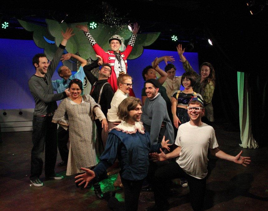 Max DeTogne, Gerald Richardson, Kate Garassino, Kirk Osgood, Kevin Bishop, Rachel Page, Luke Meierdiercks, Jonas Davidow, Jessica Vann, Kirk Jackson, Sarah Hoch, Jacob Fjare and Lauren Paris in Underscore Theatre Company's world premiere musical comedy THE STORY OF A STORY (THE UNTOLD STORY) with book and lyrics by Peter Gwinn, music by Jody Shelton and direction and choreography by Christopher Pazdernik.  Photo by Alex Higgin-Houser