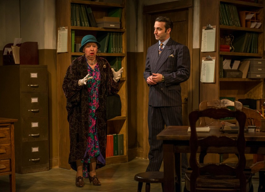 left to right) Mary Poole and Nick Freed in Griffin Theatre Company's Midwest premiere of LONDON WALL by John Van Druten, directed by Robin Witt.  Photo by Michael Brosilow.