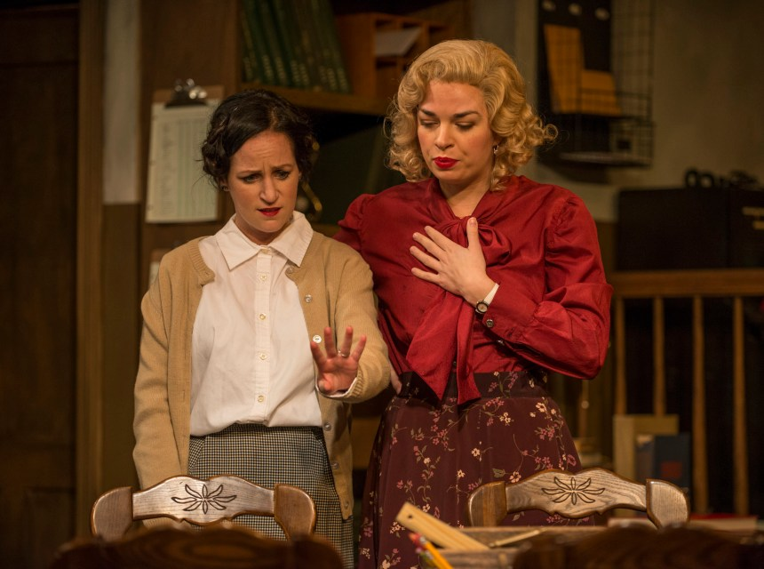 (left to right) Ashley Neal and Amanda Powell in Griffin Theatre Company's Midwest premiere of LONDON WALL by John Van Druten, directed by Robin Witt.  Photo by Michael Brosilow.