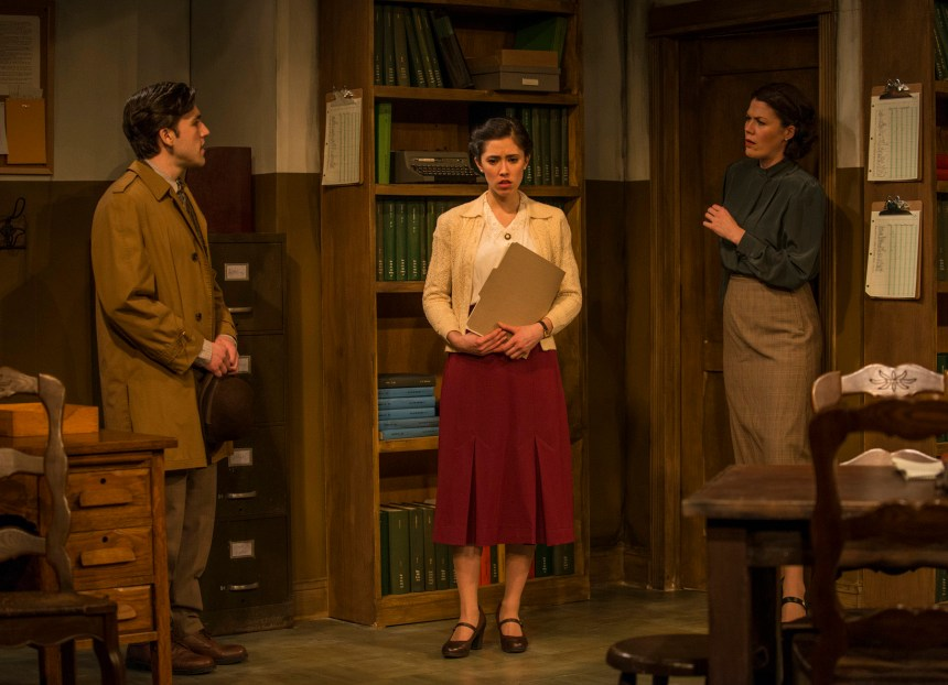 George Booker, Rochelle Therrien and Vanessa Greenway in Griffin Theatre Company's Midwest premiere of LONDON WALL by John Van Druten, directed by Robin Witt.  Photo by Michael Brosilow.