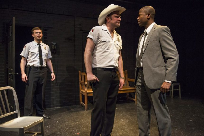 (left to right) Drew Schad, Joseph Wiens and Manny Buckley in Shattered Globe Theatre's production of IN THE HEAT OF THE NIGHT, adapted by Matt Pelfrey, based on the novel by John Ball and directed by Louis Contey. Photo by Michael Brosilow.