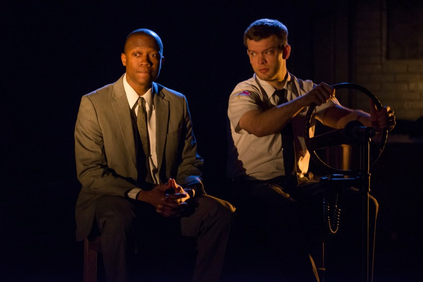 Manny Buckley and Drew Schad in Shattered Globe Theatre's production of IN THE HEAT OF THE NIGHT, adapted by Matt Pelfrey, based on the novel by John Ball and directed by Louis Contey. Photo by Michael Brosilow.