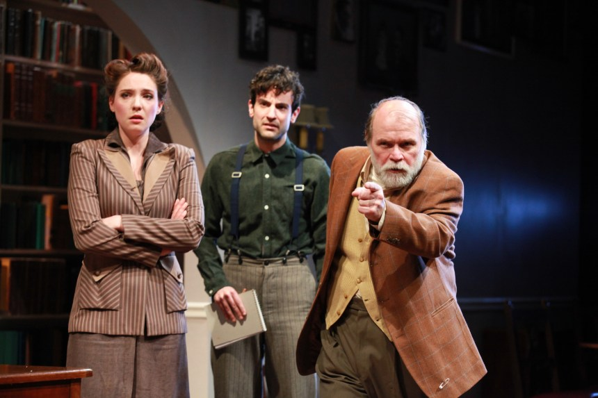 (left to right) Eliza Stoughton, Nik Kourtis and Craig Spidle in the Midwest premiere of A SPLINTERED SOUL by Alan Lester Brooks, directed by Keira Fromm. Photo by Emily Schwartz.