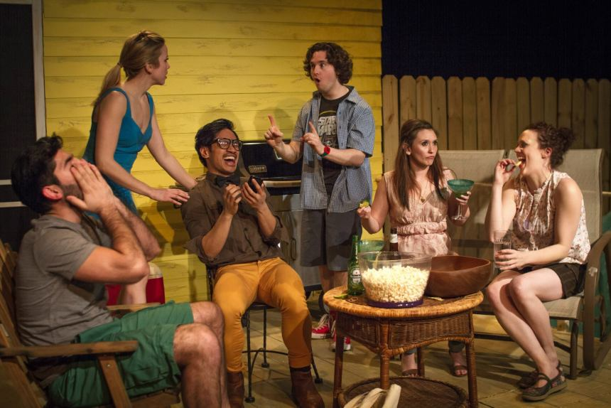 Pictured for The Ruckus's Midwest premiere of Barbecue Apocalypse by Matt Lyle are: (L to R) Andrew L. Saenz (Win), Christine Vrem-Ydstie (Glory), Bryan Bosque (Ash), Kevin Lambert (Mike), Jillian Rea (Lulu), and Allison Hendrix (Deb). Photo: Jeff Bivens. 2014.