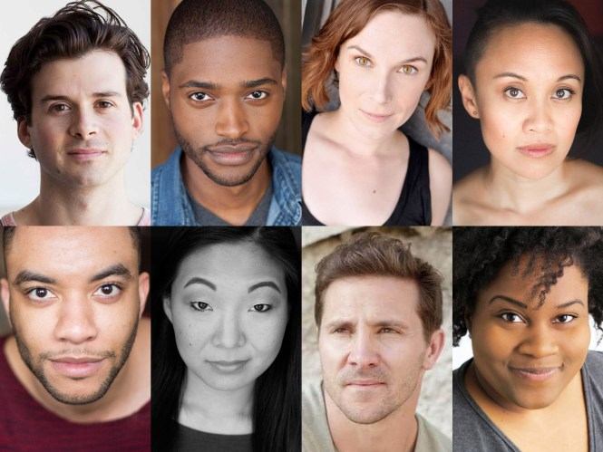 The cast of The Hypocrites' Chicago premiere of YOU ON THE MOORS NOW: (top, l to r) Japhet Balaban, Maurice Demus, Tien Doman and Emjoy Gavino with (bottom, l to r) Desmond Gray, Deanna Myers, Josh Odor and Brittney Love Smith.