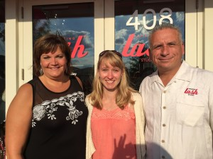 (Left to Right) Robin Cortes (Wife of owner), Kerri Twietmeyer (Crisis Center for South Suburbia), Rudy Cortes (Owner)