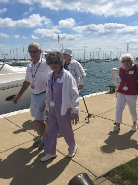 The Chicago Lighthouse participants walking to the boats.