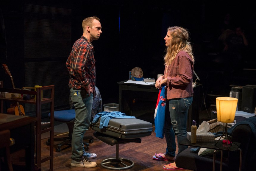 (left to right) Neil Stratman and Tina Naponelli in Kokandy Productions' TOMORROW MORNING, with book, music and lyrics by Laurence Mark Wythe, directed by John D. Glover and music direction by Kory Danielson. Photo by Michael Brosilow.