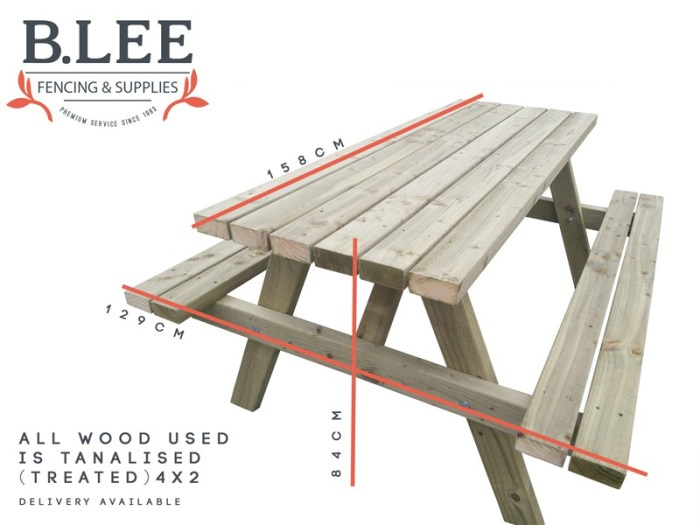 Picnic bench product by B Lee Fencing with dimensions