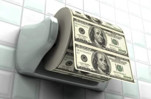 US Dollars as toilet paper