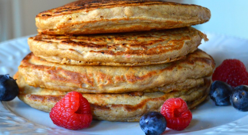 Thick and fluffy whole wheat oatmeal pancakes are both delicious and healthy!