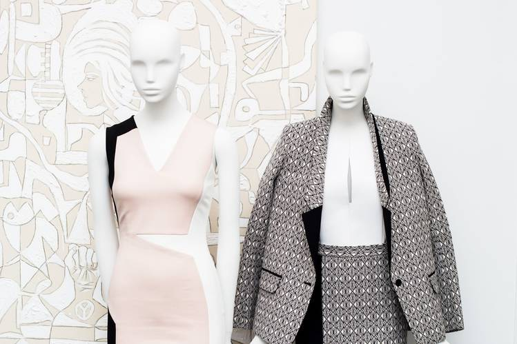 The looks in the KLS line from Kimora Lee Simmons are body-conscious yet office-appropriate.