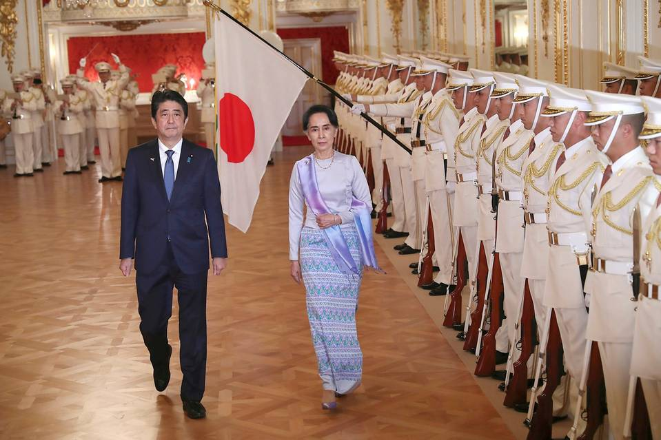 Shinzo Abe and Aung San Suu Kyi in Tokyo on Wednesday.